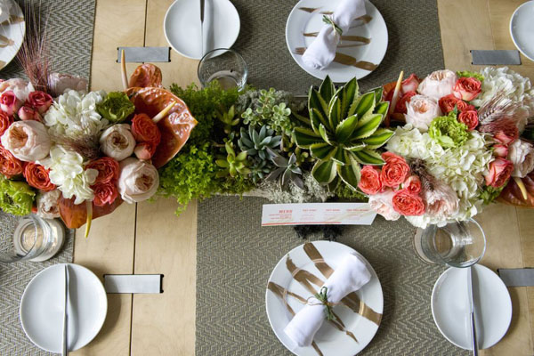 modern rustic pink and green centerpieces