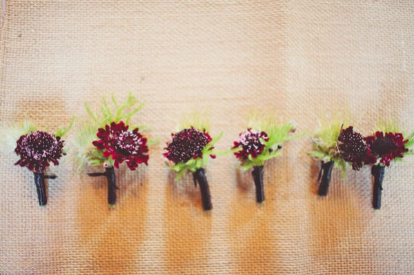 red and green boutonnieres