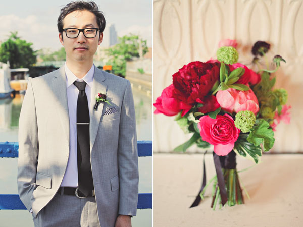 groom and pink bouquet