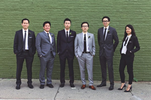 groomsmen in grey