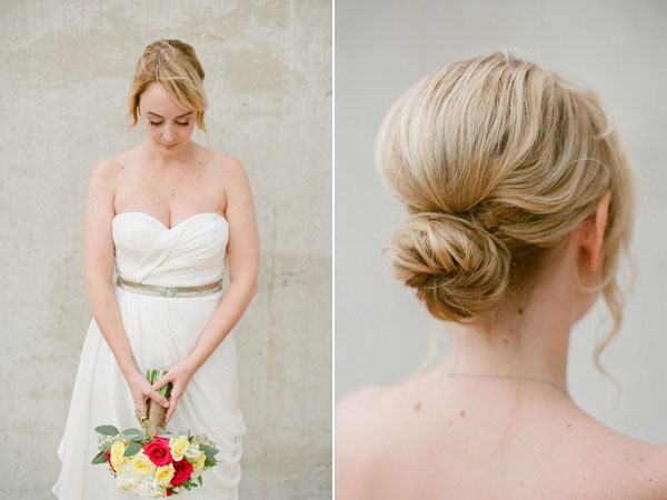 wedding dress and chignon