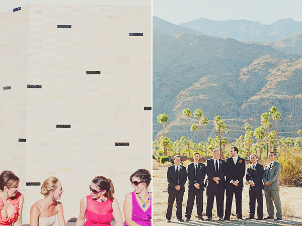 pink bridesmaids and groomsmen