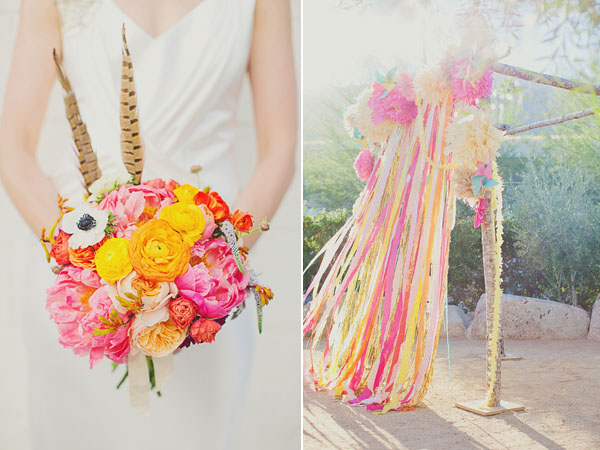 bright pink and yellow bouquet and ceremony decor