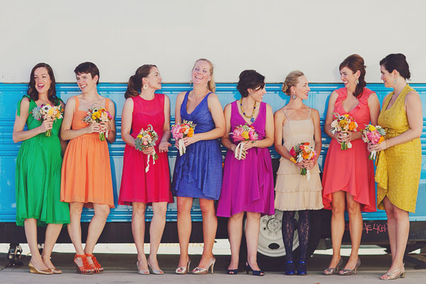 rainbow bridesmaids dresses