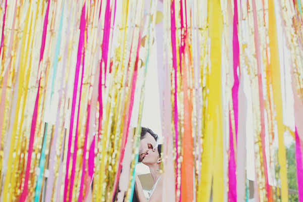 peeking through the streamers
