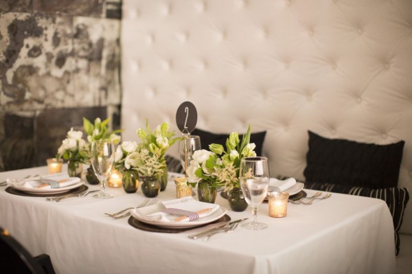 green centerpieces with modern table number