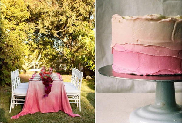 pink ombre table cloth & cake