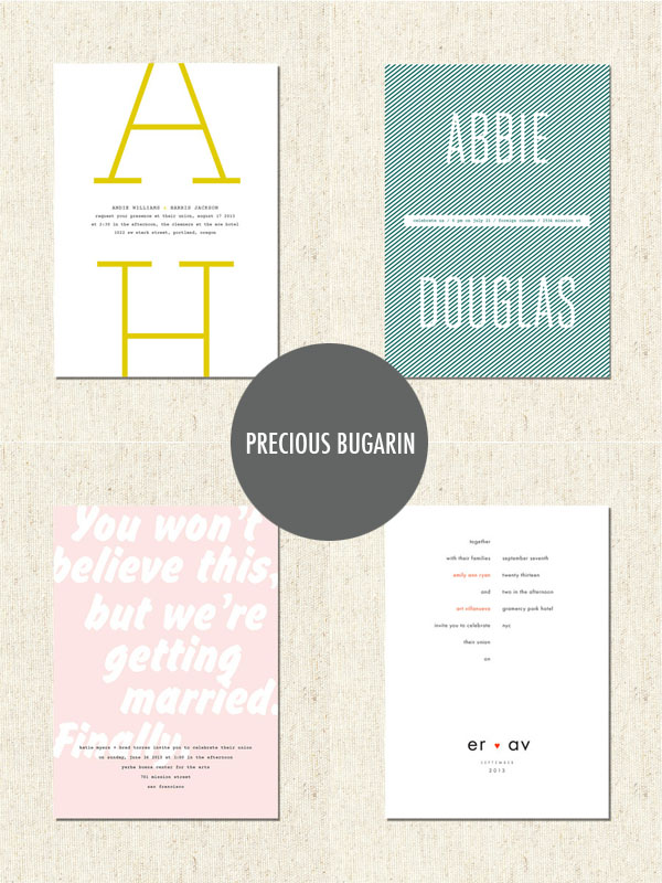 precious bugarin modern wedding invitations