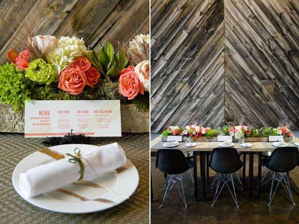 modern rustic centerpieces