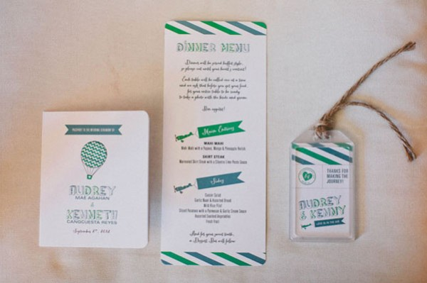 green & white invitations