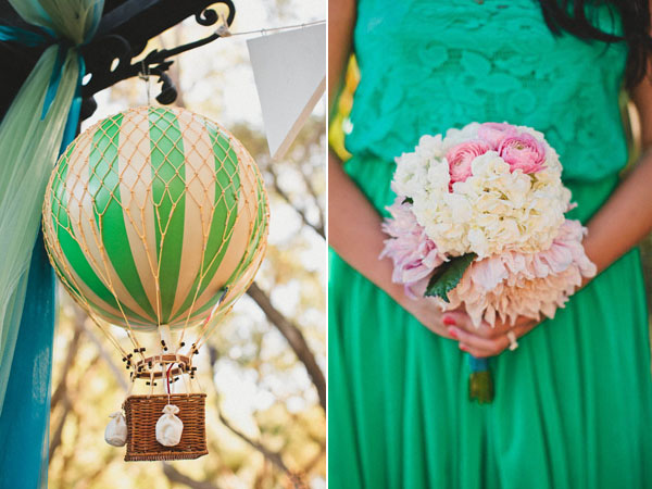 pink bouquet and green bridesmaids dress