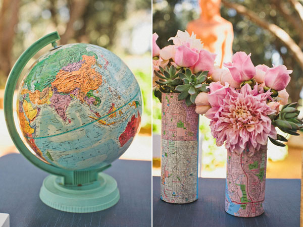travel themed wedding decor