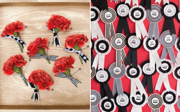 red boutonnieres and black and white prize ribbons