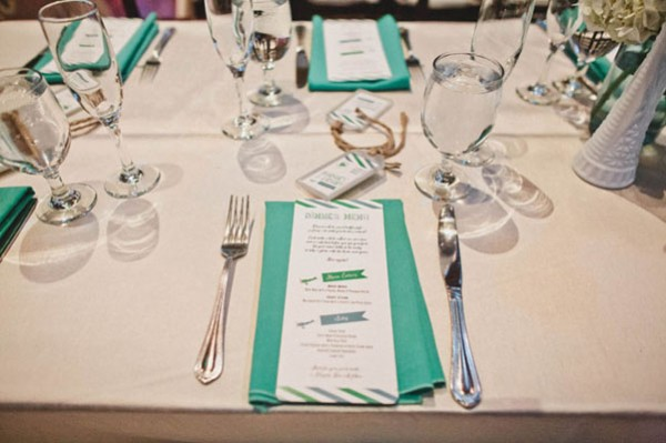 green & white menus