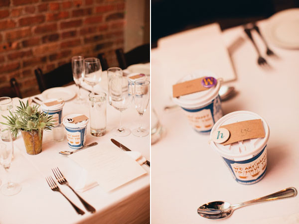 button escort cards with take out cups