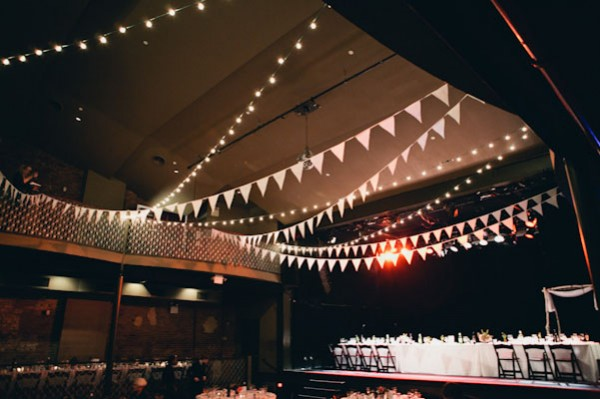 white bunting across reception