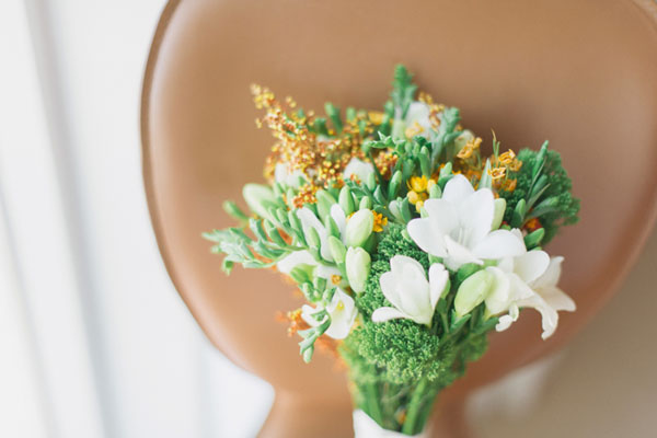 white orange and green bouquet