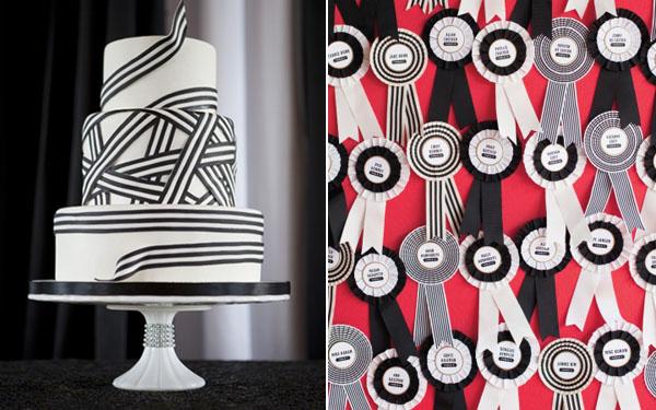 black & white wedding cake & escort card ribbons