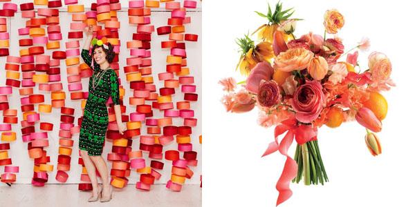 Citrus colored bouquet & backdrop