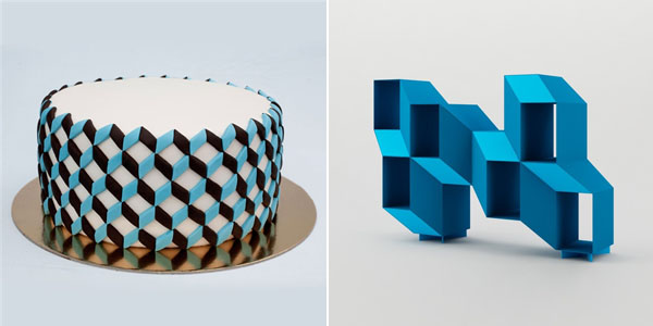geometric blue cake and bookcase
