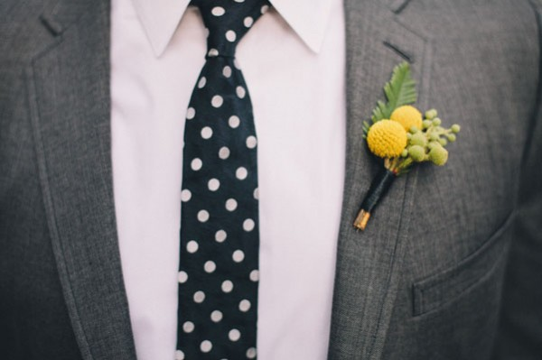polkadot tie and yellow boutonniere