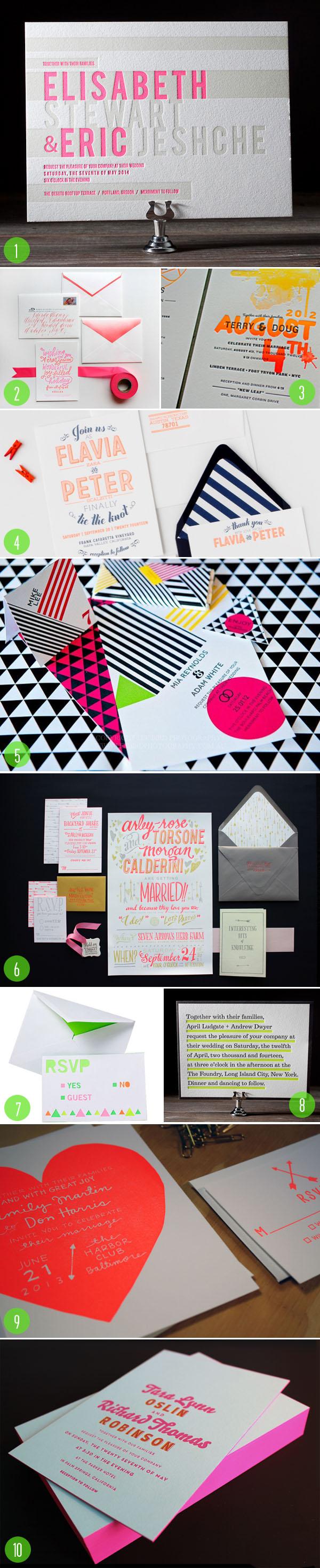 top 10: neon invites