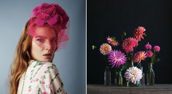 pink dahlias & pink veil