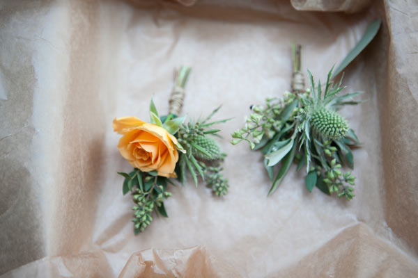 yellow & green boutonnieres