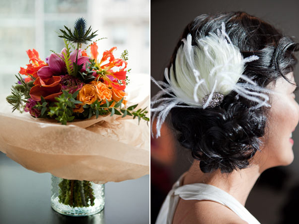bouquet & feather hairpiece