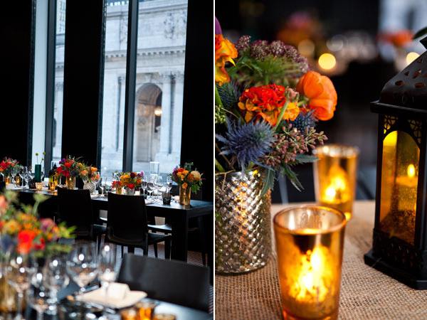 colorful centerpieces with candles