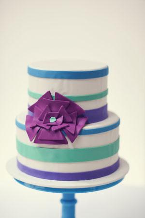 striped wedding cake
