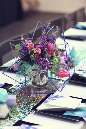 geometric purple centerpiece