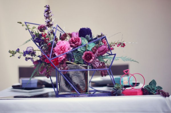 purple geometric centerpiece