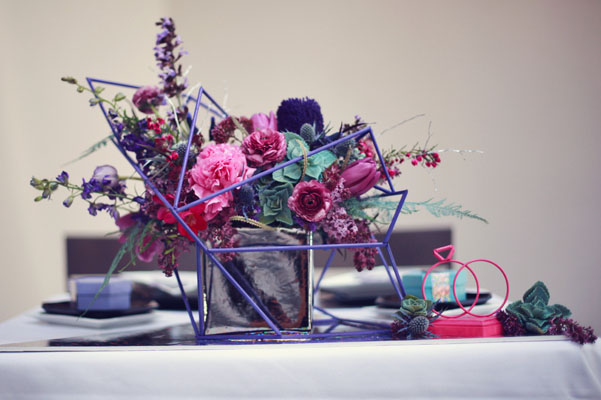 Galaxy inspired wedding shoot brooklyn bride modern for Modern centerpieces