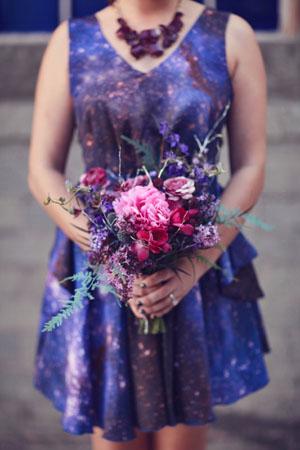 galaxy bridesmaids dress