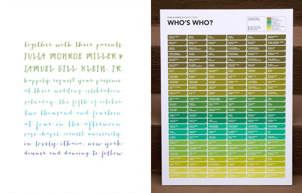 green ombre invitation and seating chart