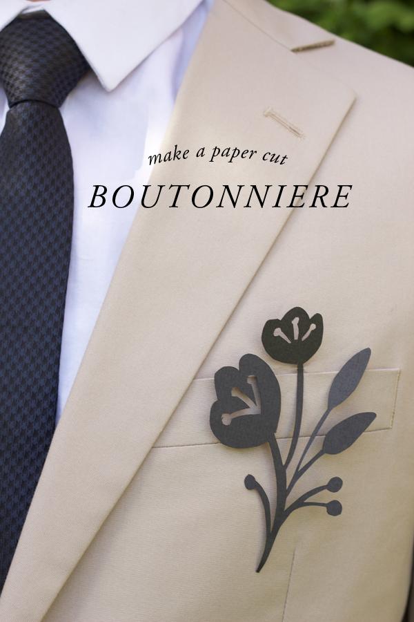 DIY: paper cut flower boutonniere - Brooklyn Bride - Modern Wedding Blog