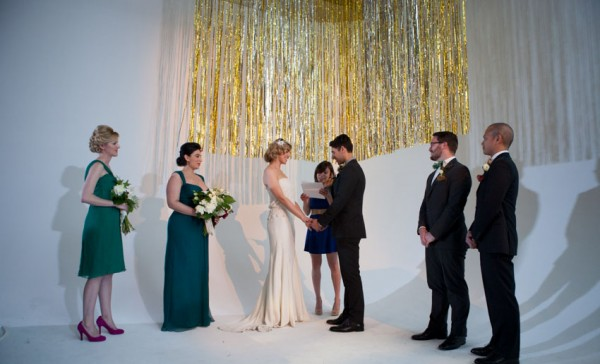 gold fringe backdrop ceremony