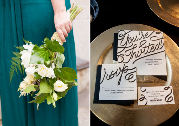 green bouquet & black & gold invitations
