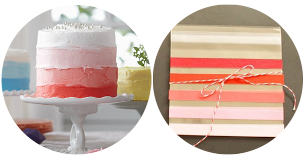 pink ombre cake and favor