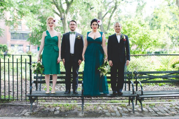 green & black bridal party