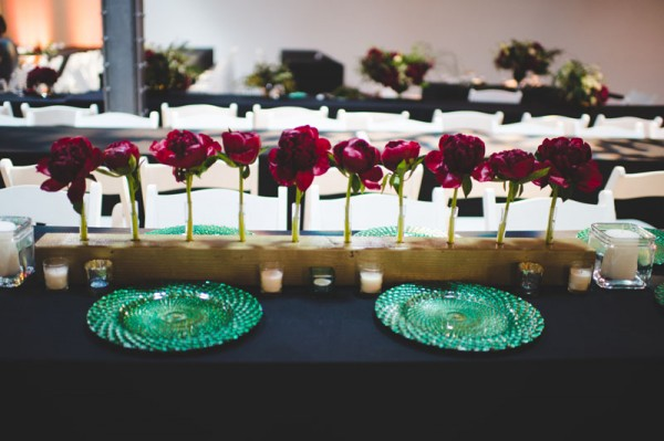 modern red, gold & green centerpiece