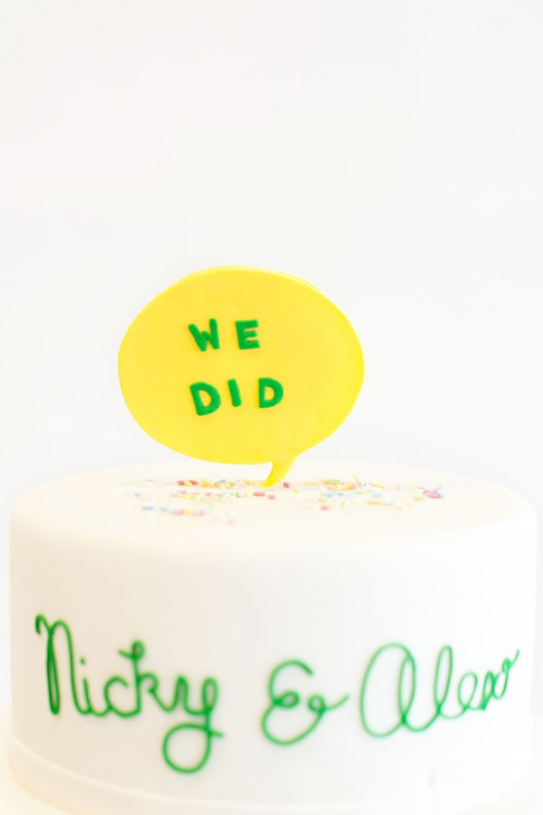 yellow bubble cake topper