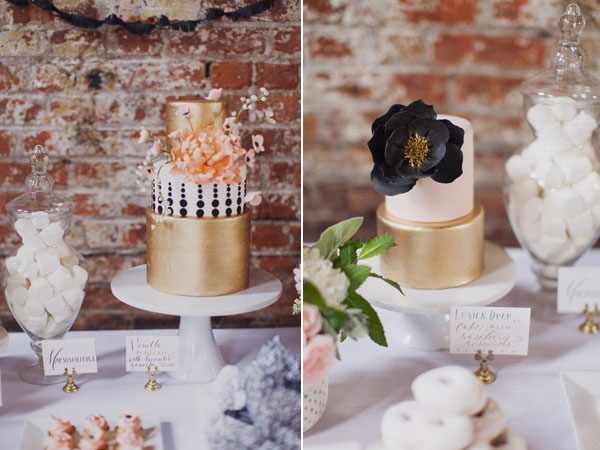 gilded wedding cakes