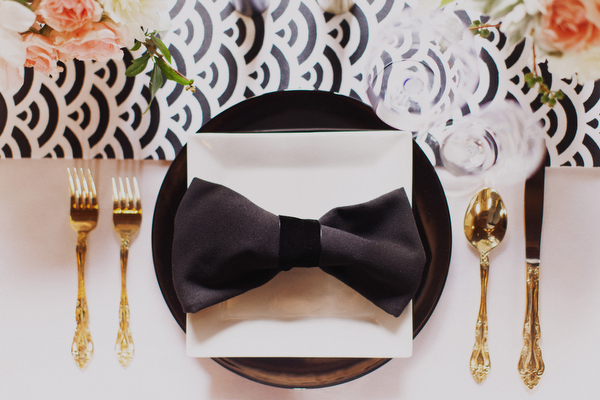 black bow table setting