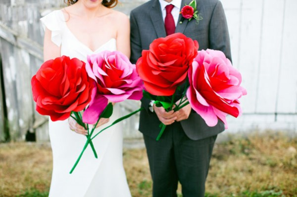 red and pink paper flowers