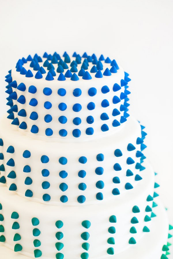 blue green ombre studded wedding cake
