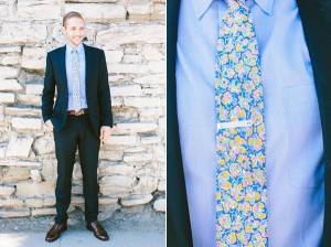 groom with floral tie