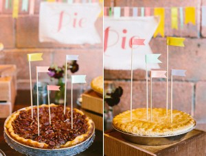 wedding pies with flag toppers