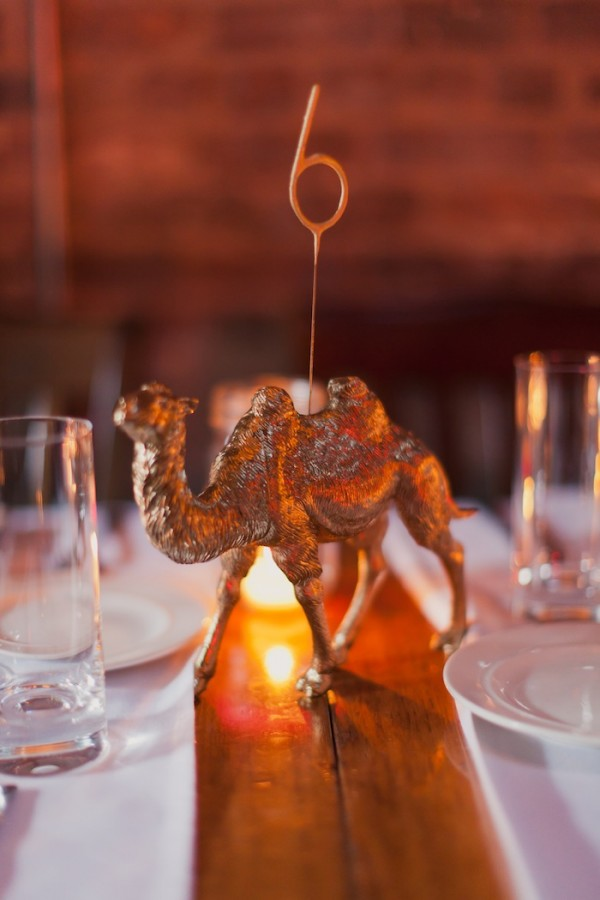 gold animal sparkler table number